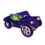 Triigitav Aplikatsioon; Lilla kooslustega käru / Embroidered Iron-On Patch; Purple Dune Buggy / 9 x 6,5cm