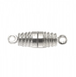 Cylindrical Magnetic Clasp with Ridge Pattern / 18 x 5mm