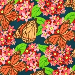 Puuvillane kangas, liblikatega, 112cm, PWJG018. NATURAL