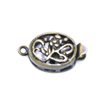 Oval Box Clasp with Floral Pattern / 12 x 10mm