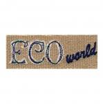 Triigitav linasest riidest ökösõbra Aplikatsioon `Eco World` 8x3cm