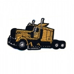Embroidered Iron-On Patch; Gold Truck / 10 x 5,5cm