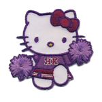 Embroidered Iron-On Patch; Hello Kitty Cheerleader / 6,5 x 6,3cm