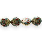Värvilised, maalitud ümarad lapikud cloisonne metallhelmed 12x 11x 5mm
