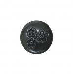 Must, reljeefse lillemustriga, kannaga plastiknööp 15mm/24L