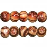 Ümarad puithelmed aafrikapäraste mustritega, 7mm