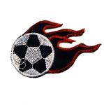 Triigitav Aplikatsioon; Jalgpalliteemlaine aplikatsioon, jalgpall tuleleegiga/ Embroidered Iron-On Patch / 9,5x6cm