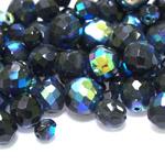 Pärlisegu mustadest eri suurusega pärlitest sinaka AB kattega 6-15mm, 100/50g pakk