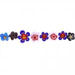 Kirjud mustrilised lillekujulised, lapikud millefiori pärlid 15 x 4 mm