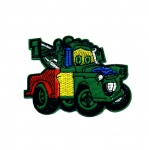 Embroidered Iron-On Patch; Green Tow Truck / 8,5 x 6,5cm
