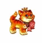 Soft 3D Sticker; Cat with Crown / 7,5 x 7cm