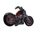 Embroidered Iron-On Patch; Black Motorcycle / 10 x 6,5cm