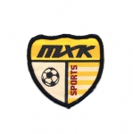 Embroidered Iron-On Patch; Sports Crest, `MXK Sports` / 6,5cm