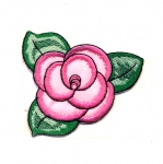 Triigitav Aplikatsioon; Roosiõis lehtedega / Embroidered Iron-On Patch; Rose with Leaves / 8,5cm