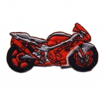 Embroidered Iron-On Patch; Red Motorcycle / 7 x 4cm