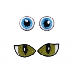 Silitettävät silmät, 2 paria, ø3 cm ja ø2 cm