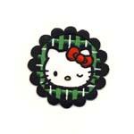 Triigitav Aplikatsioon; Hello Kitty rohelise ruudulise taustaga / Embroidered Iron-On Patch; Hello Kitty with Green Checkered Background / 6,5 x 6cm