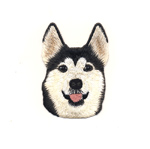 Triigitav Aplikatsioon; Laika nägu / Embroidered Iron-On Patch; Husky Face / 8 x 5,5cm
