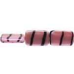 Flat rectangular glass beads with stripes, 19x12x5.5mm