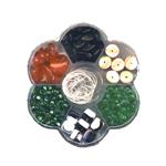 Lillekujuline Tsehhi klaaspärlite valikkarp 8-17mm pärlitest
