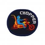 Triigitav Aplikatsioon; Mootorratturiga, ovaalne aplikatsioon `Chopper`/ Embroidered Iron-On Patch;/ 7,5x6,5cm