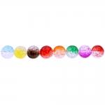 Värvisegu, kirjud, mõralised, läbipaistvad, ümarad akrüülhelmed, 12mm