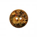 Naturaalne kookosnööp trükitud lillemustriga, kahe auguga 40mm, 60L