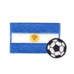 Triigitav Aplikatsioon; Jalgpall ja Argentiina lipp/ Embroidered Iron-On Patch / 7,5x4,5cm