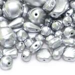 Pärlisegu Hõbedastes toonides pärlmutterkattega eri suurusega pärlitest 5-20mm, 100/50g pakk