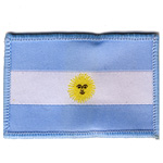 Embroidered Iron-On Patch; Argentinian Flag / 6,35 x 4,2cm