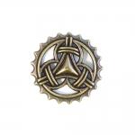 Metallist, ornamendimustriga, kannaga nööp, 35mm/50L