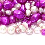 Pärlisegu roosakaslillakates, valgetes pärlmuttertoonides eri suurusega  erikujulistest pärlitest 5-15mm, 100/50g pakk