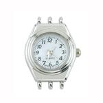 Käekella toorik hõbetatud ümara vormiga / Round 3-Cord Watch Face / 28 x 22mm