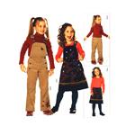 Pihikseelik -ja püksid 98 - 128cm / Bibbed skirt & overalls / Burda 9536