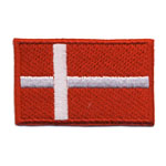 Embroidered Iron-On Patch; Danish Flag / 6,5 x 4cm