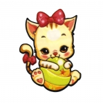 Soft 3D Sticker; Cat with Ball / 8 x 5,5cm