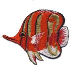 Triigitav Aplikatsioon; Korallkalake ujub, vasakule / 7 x 6cm