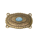 Ornamental Pendant Connector with Teal Stone / 55 x 40mm