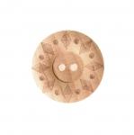 Naturaalne, lakitud mutriline puitnööp, kahe auguga, läbimõõduga 23mm/36L
