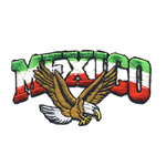Embroidered Iron-On Patch; Mexican Flag with Eagle, `Mexico` / 11 x 6cm