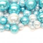 Pärlisegu Sinakasrohelistes pärlmuttertoonides ümaratest pärlitest 4-15mm, 100/50g pakk