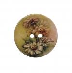 Trükitud kirju lillemustriga, kahe auguga nööp 40mm, 60L
