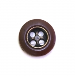 Wooden button with metal insert, ø15 mm, size: 24L