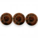 Ümarad, lapikud, naturaalsest mahagon obsidiaanist 16x6mm helmed