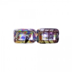 Piklik, lapik, kandiline 12x8x5mm klaashelmes, metallik mustriga