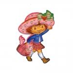 Triigitav 3D Aplikatsioon; Tüdruk, maasikakübara ja kiisuga/ Embroidered Iron-On Patch; 8,5x5,5cm