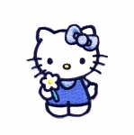 Triigitav Aplikatsioon; Hello Kitty lillega / Embroidered Iron-On Patch; Hello Kitty with flower / 6,5x5,5cm