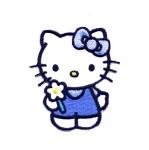 Triigitav Aplikatsioon; Hello Kitty lillega / Embroidered Iron-On Patch; Hello Kitty with flower / 6,5x5,5cm