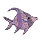 Triigitav Aplikatsioon; Sätendav lilla kalake / Embroidered Iron-On Patch; Sparkling Purple Fish / 6,5 x 3,6cm