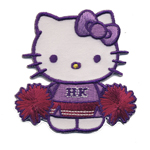 Embroidered Iron-On Patch; Hello Kitty Cheerleader / 6,3 x 6,3cm